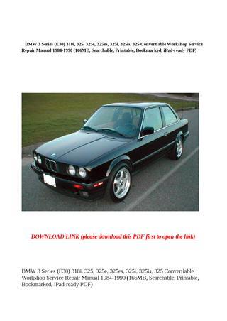 download BMW 325 325e 325es workshop manual