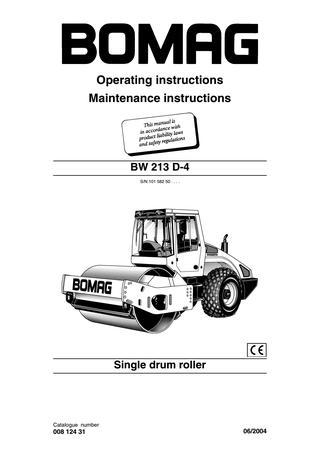 download Bomag Single drum roller BW 213 D 4 able workshop manual