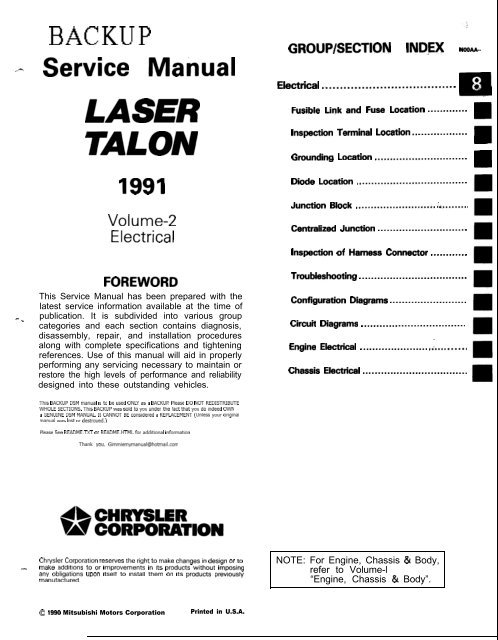 download Chrysler Laser Talon Volume 2 workshop manual