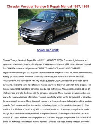 download Chrysler RS RG Town Country Caravan Voyager workshop manual