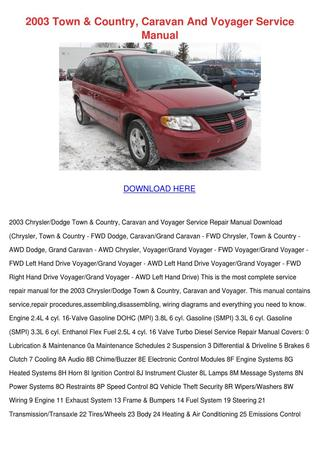 download Chrysler Town Country Caravan Voyager RHD LHD workshop manual