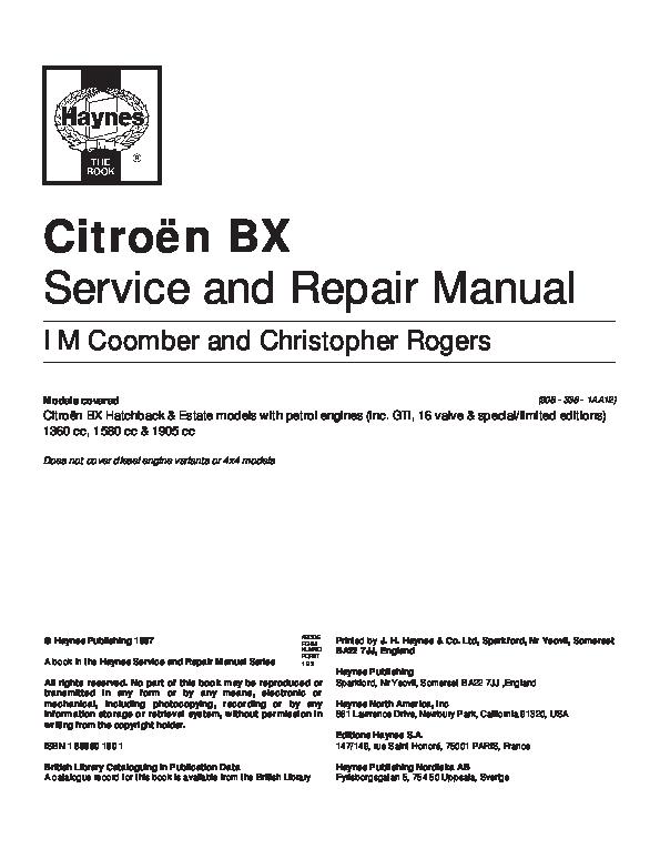 download Citroen BX workshop manual