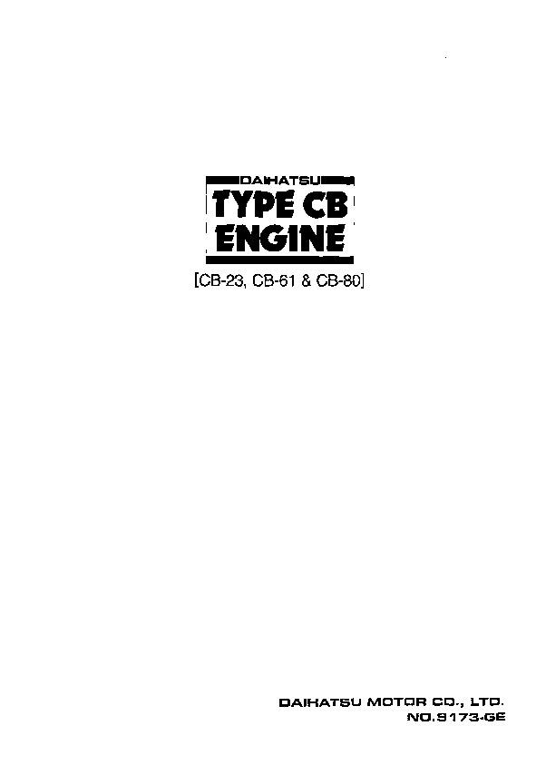 download Daihatsu Charade Type CB Engine CB 23 CB 61 CB 80 workshop manual