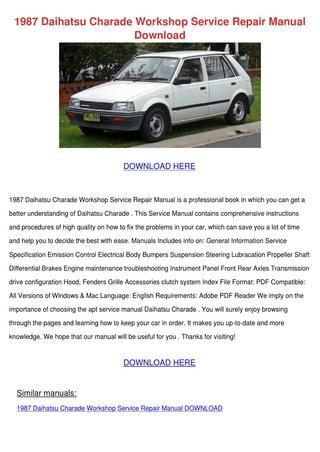 download Daihatsu Charade Type CB workshop manual