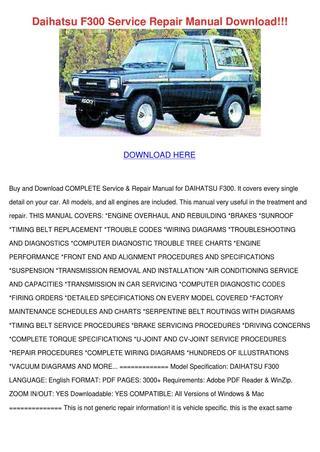 download Daihatsu Rugger F70 workshop manual