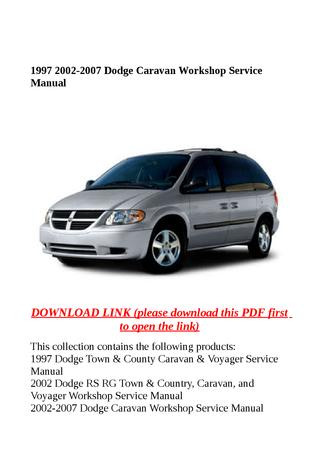 download Dodge RS RG Town Country Caravan Voyager workshop manual