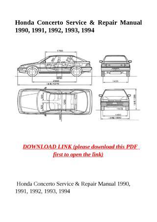 download Honda Concerto 90 91 92 93 94 workshop manual