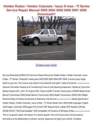 download ISUZU D MAX RODEO COLORADO RA7 KB TFR TFS workshop manual