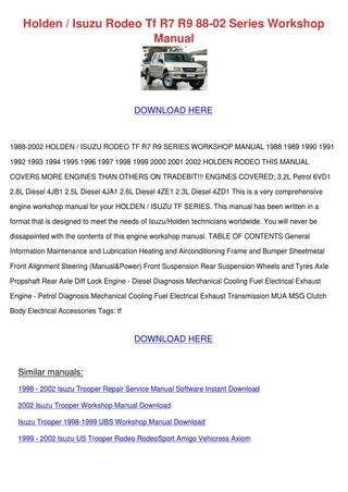download ISUZU TF R7 R9 2.6L 4ZE1 workshop manual