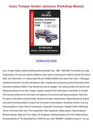 download ISUZU TROOPER BIGHORN Rodeo Amigo Vehicross 4JG2 4JX1 6VD1 6VE1 workshop manual