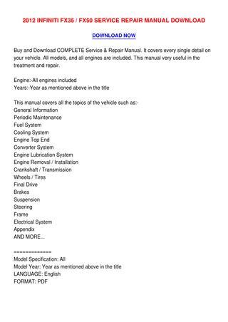 download Infiniti FX50 workshop manual