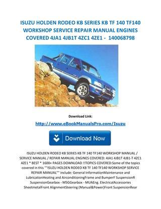 download Isuzu Rodeo KB TF 140 workshop manual