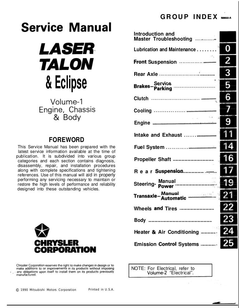 download LASER TALON ECLIPSE workshop manual