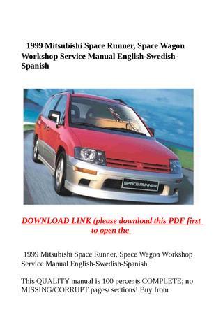 download MITSUBISHI SPACE WAGON SPACE RUNNER workshop manual