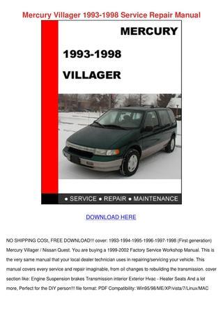 download Mercury Villager workshop manual