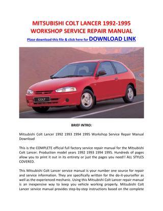 download Mitsubishi Colt Lancer Work workshop manual
