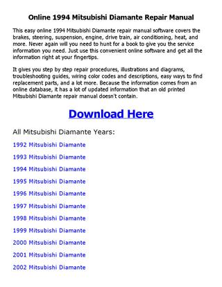 download Mitsubishi Diamante workshop manual
