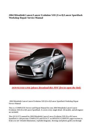download Mitsubishi Lancer Lancer Evolution XIII Evo 8 Lancer SportBack workshop manual