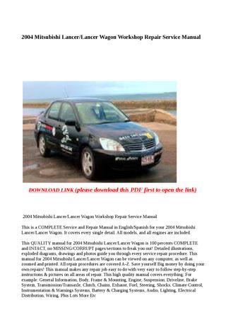 download Mitsubishi Lancer Wagon Downlo workshop manual