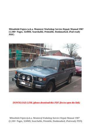 download Mitsubishi Pajero a.k.a. Montero workshop manual