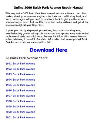 download PARK AVENUE workshop manual