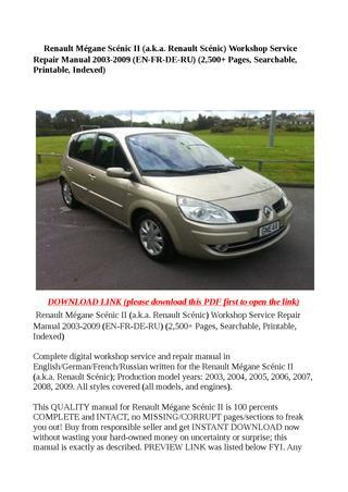 download Renault Scenic II workshop manual