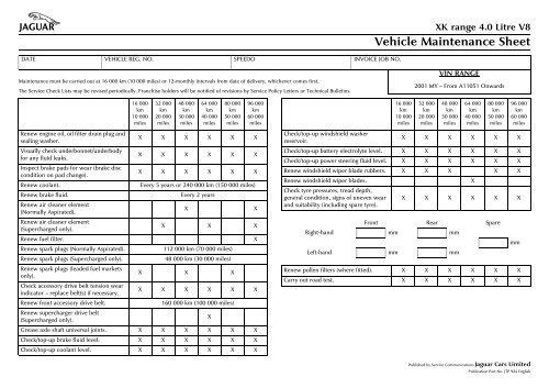 download XK range 4.0 Litre V8 Vehicle Sheet workshop manual